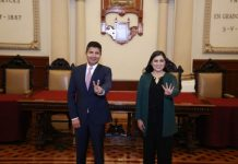 Presidenta Municipal, Claudia Rivera Vivanco, y el presidente municipal electo, Eduardo Rivera Pérez